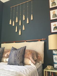 DIY headboard with copper pipe Sarah-montgomery.com