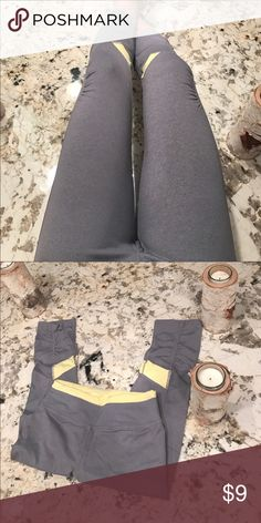 Kyodan grey / yellow work out / yoga pants size 2 perfect for the on the go girl fitness attire or lounging around in. Make an offer! Fits like a small, comes from a smoke free home. Bundle and SAVE!! Next day shipping! Kyodan Pants Capris