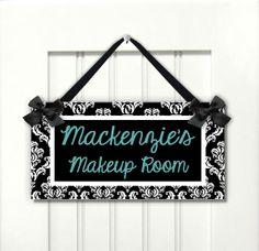personalized name makeup room door sign  bedroom by kasefazem, $16.99