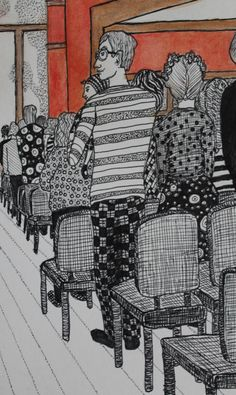 """Sunday Morning at St. Andrews"" by L.K. Sukany. Detail: father holding baby in church service. Pen and Ink drawing using Inktense Pencil Carmine Pink and Tangerine blended."