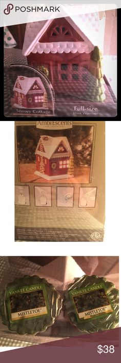 🎅🏼☃️🎁 Perfect for The Holidays, Snowy Cottage Starting your Christmas shopping? This is a full size wax warmer in the shape of a Snowy Cottage. Comes 3 Yankee Candle mistletoe scented wax. Never been used and has been kept in box. Ambi Escents Home Fragrance Accessories