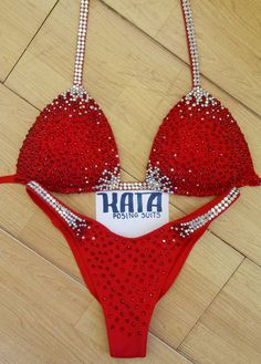 Red competition stage bikini suit