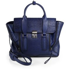 3.1 Phillip Lim Pashli Medium Pebbled Satchel (2.940 BRL) ❤ liked on Polyvore featuring bags, handbags, satchel hand bags, 3.1 phillip lim, blue handbags, 3.1 phillip lim bag and blue purse