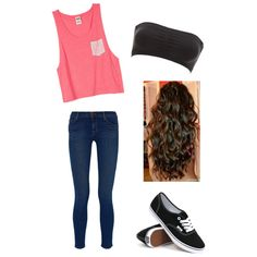 Outfit#1  on Polyvore featuring polyvore, fashion, style, J Brand, Charlotte Russe and Vans