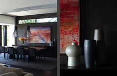 Deep moody colour palette with a luxurious giant rug.  Hare + Klein   Interior Designers