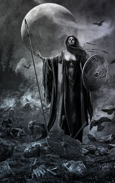 i do not know the artist or the personage depicted. perhaps it is Freyja taking Her pick of the slain in battle.  i see runes on Her shield.