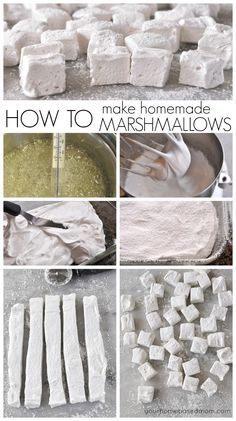 How to make homemade marshmallows are easier than you think and so much more delicious than store bought! Making your own homemade marshmallows isn't hard at all and they taste so much better than the store bought variety. Recipes With Marshmallows, Homemade Marshmallows, Homemade Candies, Marshmallow Recipes, How To Make Marshmallows, Gourmet Marshmallow, Martha Stewart Marshmallow Recipe, Homemade Candy Recipes, Snacks