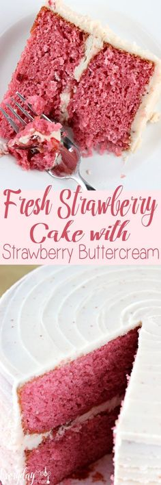 This Fresh Strawberry Cake with Strawberry Buttercream is going to be a strawberry lovers dream come true! This cake is made with fresh strawberries in the mix, as well as in the buttercream! You can't get any more strawberry flavor in a from scratch cake! | EverydayMadeFersh.com