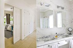 El baño principal se modernizó con un revestimiento unificado en pisos y paredes (SBG). Sobre la mesada de mármol Calacatta, dos bachas idénticas se complementan con botiquines espejados (todo de tableware.ba) y apliques de luz (Casa Rago).  /Santiago Ciuffo