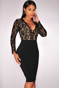 Trendy Black Lace Nude Illusion Long Sleeves Dress