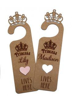 """Personalised """"Princess lives here""""Door Hanger Door Hangers, Nursery Ideas, Baby Gifts, Lily, Room Decor, Doors, Princess, Products, Nursery Room Ideas"""