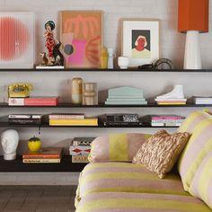 Home Interior Modern Lampshade with hexagon shape made of linen in the colour orange. Funky Sofa, Retro Sofa, Room To Grow, Style Retro, Hexagon Shape, Simple Colors, Retro Design, Design Design, Interiores Design