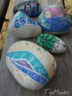 Painted stones. Rock painting
