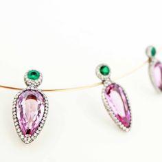 Antique precious topaz, diamond and emerald necklace on spring gold.  #taffinjewelry #taffin #jamestaffindegivenchy #jamesdegivenchy