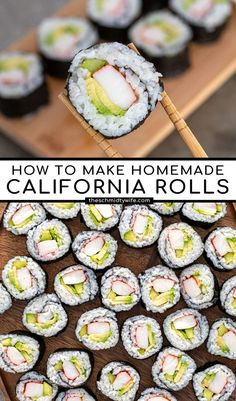 Homemade California Sushi Rolls can be easy to make with step by step photo instructions featuring imitation crab, avocado, & cucumbers! Cooked Sushi Rolls, Easy Sushi Rolls, Homemade Sushi Rolls, Avocado Rolls Sushi, Making Sushi Rolls, Cucumber Rolls, California Roll Recipes, California Roll Sushi, California Food
