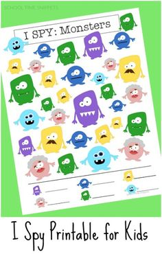School Time Snippets: I SPY Printable for Kids-Monsters. Pinned by SOS Inc. Resources. Follow all our boards at pinterest.com/sostherapy/ for therapy resources.