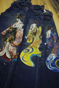 Amazing hand-painted jeans! $395