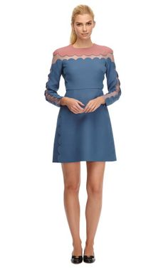 Silk and Wool-Blend Scalloped Detail Dress by Valentino - Moda Operandi