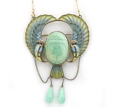 A Egyptian revival plique-à-jour enamel and amazonite scarab pendant/brooch, circa 1920 with modern gold chain.