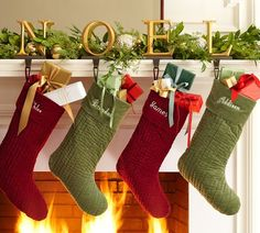 Noel Stocking Holder for the kids stockings.I want to find a 6 letter word :) Fireplace Mantel Christmas Decorations, Hanukkah Decorations, Christmas Mantels, Green Stockings, Kids Stockings, Christmas Stockings, Green Christmas, Christmas Home, Christmas Holidays