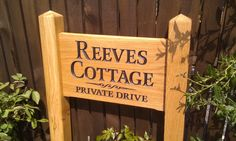 House Sign, Personalised solid oak engraved hardwood freestanding ladder sign with a names and single no parking separated with a scroll House Name Signs, House Names, Home Wooden Signs, Home Signs, Small Ladder, Farm Entrance, Novelty Items, Personalized Signs, Farm Life