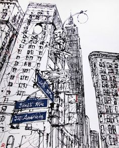 New york line drawing, paul kenton urban sketching en 2019 art drawings, dr Ant Drawing, Drawing Sketches, Painting & Drawing, Dress Sketches, Sketch Art, Drawing Tips, Paul Kenton, L Wallpaper, A Level Art