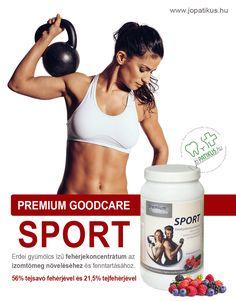 Erdei gyümölcsös ízű, 5 féle vitaminnal és 8 féle ásványi anyaggal dúsított, fehérjekoncentrátum, a Premium Goodcare Sport, ami 56% tejsavó fehérjével, és 21,5% tejfehérjével járul hozzá az izomtömeg növeléséhez és fenntartásához. Izu, Sports, Hs Sports, Sport
