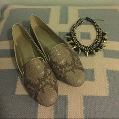 Shoes Snake skin flats with platinum trim. Worn only once and still in excellent condition. Coach Shoes Flats & Loafers