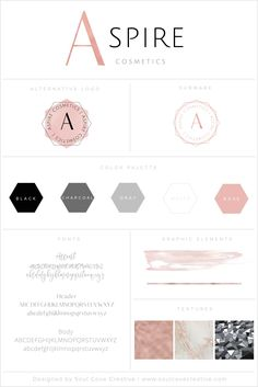 Branding Style Board for Aspire Cosmetics | Get yours at www.soulcovecreative.com | Branding Style Board | Branding | Brand Inspiration | Logo Design | Logo Inspiration | Color Palette | Fonts | Brand Design Inspiration | Creative Entrepreneur | Female Entrepreneur | Small Businesses |