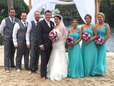 Gorgeous Twin Waters Resort wedding #novoteltwinwatersresort on the Sunshine Coast. Teal green bridesmaids dresses with shell adorned bouquets.