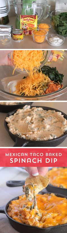 Let's get (h)appy! This Mexican Taco Baked Spinach Dip from @pickypalate is sure to be your new go-to for parties and weeknight snacks! It's the perfect combination of the Mexican flavors you love with the comfort foods you crave!  Plus, it's ready to eat in just 30 minutes!