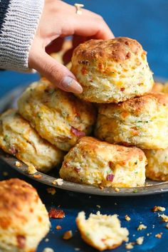 Bacon Cheddar Chive Biscuits - The BEST savory biscuits you will ever have! Loaded with crispy bacon bits, extra-sharp cheddar cheese and chives. The biscuits come out perfectly flaky and buttery every time!