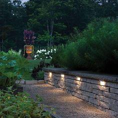 12 volt WARM LED Landscape Light for Retaining Walls /& Stairs BRUSHED Case