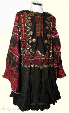 Pakistan, nuristan/swat woman's embroidered wedding dress