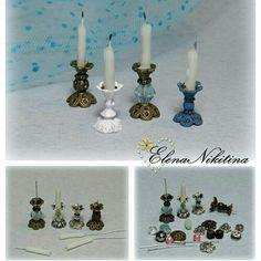 Minyatürler candle holders for minis Z Fairy Furniture, Barbie Furniture, Dollhouse Furniture, French Furniture, Miniature Furniture, Miniature Crafts, Miniature Houses, Miniature Dolls, Miniature Fairies