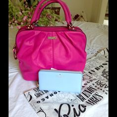 Kate Spade's newest color! Baby Blue  Gorgeous NWT blue wallet! No discounts, I paid full price. Kate spade Bags