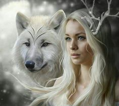 Ice Fantasy Wolf Lady Diamond Painting DIY Cross Stitch Embroidery Home Craft Foto Fantasy, Fantasy World, Fantasy Love, Anne Stokes, Wolf Spirit, Spirit Animal, Wolf Girl, Deer Girl, White Wolf
