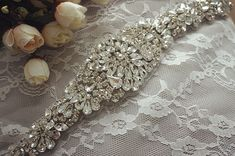 rhinestone bridal applique, crystal applique for wedding sash, beaded belt, bridal belt on Etsy, $36.80