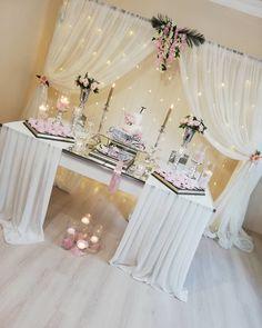 19 New Ideas Birthday Table Design Bridal Shower Quince Decorations, Bridal Shower Decorations, Birthday Decorations, Wedding Decorations, Diy Wedding Reception, Wedding Table, Reception Ideas, Trendy Wedding, Dream Wedding