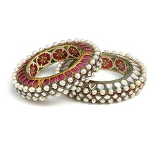 Northern India ~ Jaipur | Set of bangles; gold wet with rubies, diamonds and pearls. Enamel on interior with lac core | ca. 1775 - 1825 | Al-Thani Collection