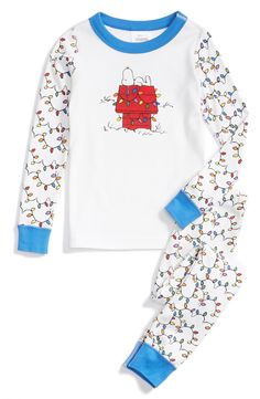 Hanna Andersson'Peanuts®' Organic Cotton Two-Piece FittedPajamas (Toddler Boys & Little Boys)