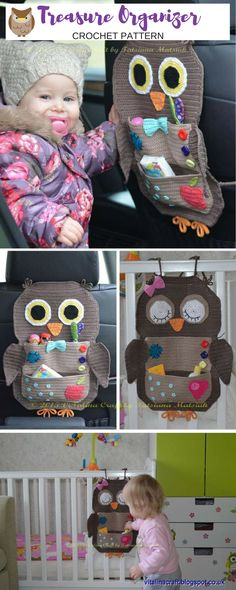 This is a cute way to keep small stuff such as snacks, toys or wipes organized in the car. Owl Treasure Organizer for car or crib. #ad #owl #crochetpattern