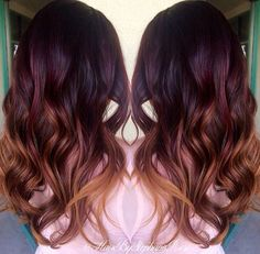 Red and copper color melt hair  By @hairbystephanierose