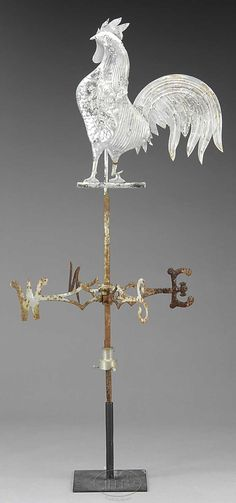 MOLDED COPPER FULL BODIED ROOSTER WEATHERVANE WITH DIRECTIONALS. - James D. Julia, Inc.