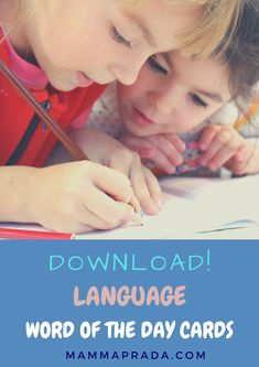 Are you learning a language? Are your children studying languages at school? Maybe you are raising your kids bilingually? If so download our Word of the Day Cards. Just print them out and add your own combination of languages for a quick way to add extra vocabulary to your day with minimum effort! #wordoftheday #languages #languagelearning #bilingual #esol Kids Writing, Teaching Writing, Kids Reading, Teaching Tips, Teaching Strategies, Education Franchise, Creative Writing Tips, Learning Apps, Learning Italian