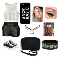 """""""Black and White"""" by nicolette-music ❤ liked on Polyvore featuring Mairi Mcdonald, Michael Kors, Wet Seal, Converse and LORAC"""