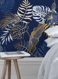 Removable Wallpaper Peel and Stick Wallpaper Wall Paper Wall Mural - Contemporary Non-Metallic Leaves Wallpaper - Wallpaper Wall, Peel And Stick Wallpaper, Leaves Wallpaper, Wallpaper Designs For Walls, Wall Painting Decor, Room Decor, Wall Decor, Design Repeats, Smooth Walls