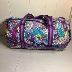 Vera Bradley Round Getaway Duffle Bag Heather Weekender Overnight Travel Bag NEW  | eBay