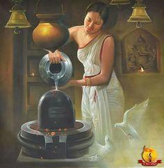 Linga Shiva Being Bathed.