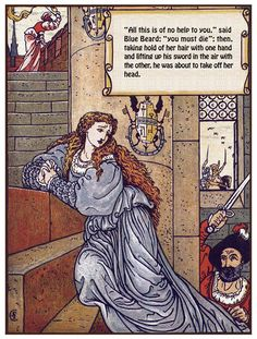 <img> Blue Beard (illustration by Walter Crane) - Walter Crane, Denis Zilber, Planet Books, The Ancient Magus, Book Creator, Fable, Blue Fairy, English Artists, Pre Raphaelite